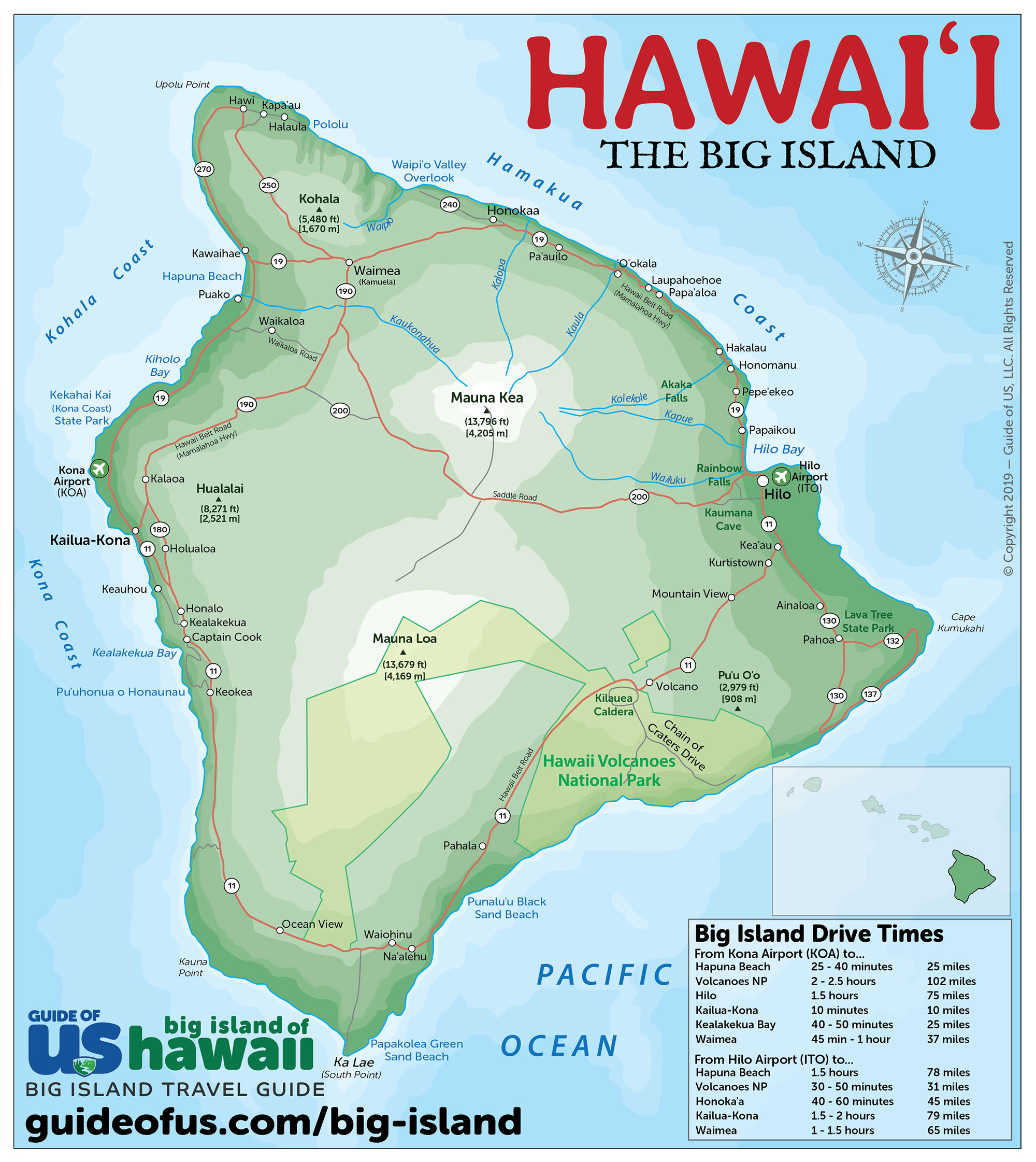 Picture of: Big Island Of Hawaii Maps Travel Road Map Of The Big Island