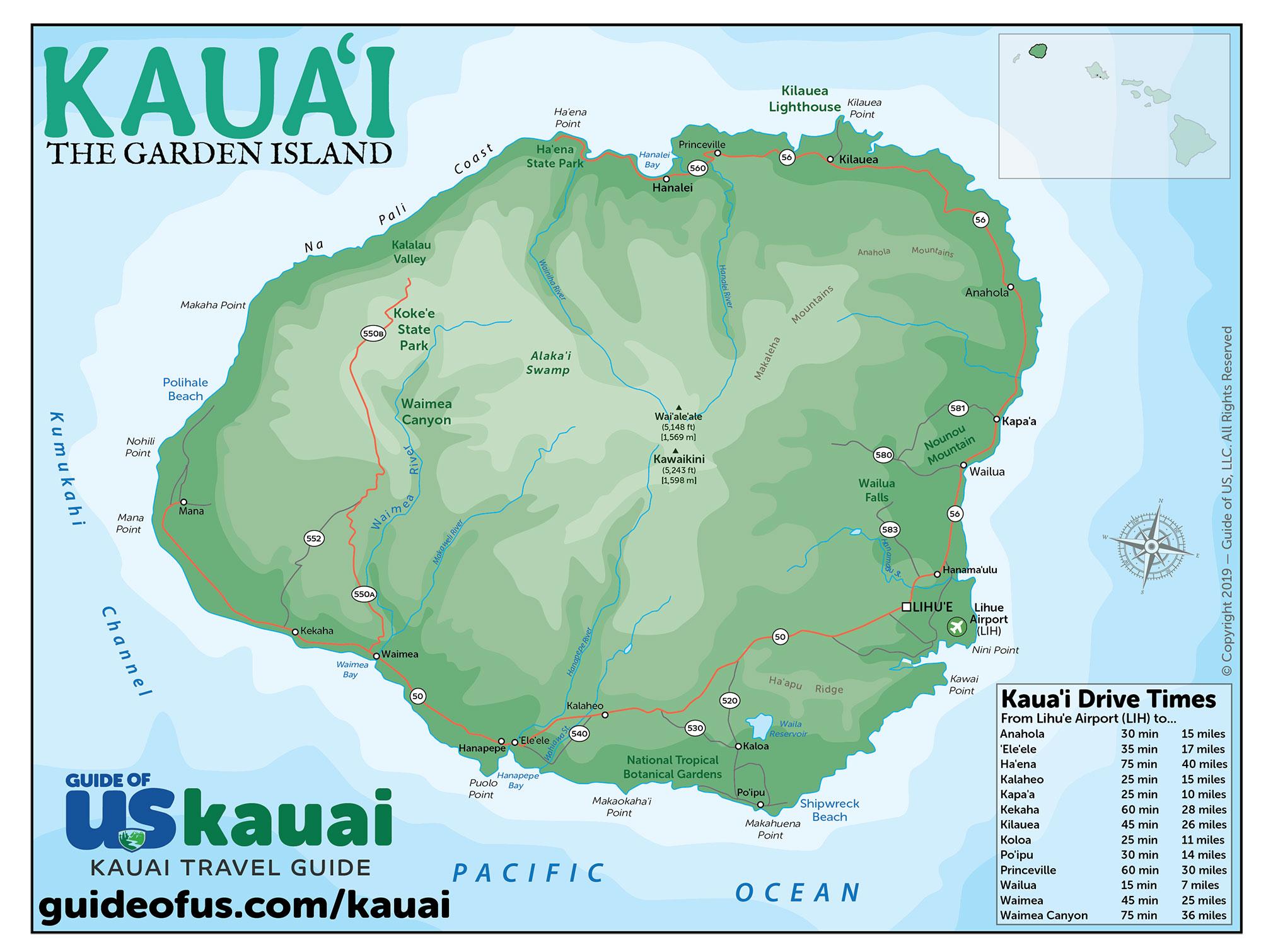 graphic about Printable Map of Kauai identify Kauai Maps