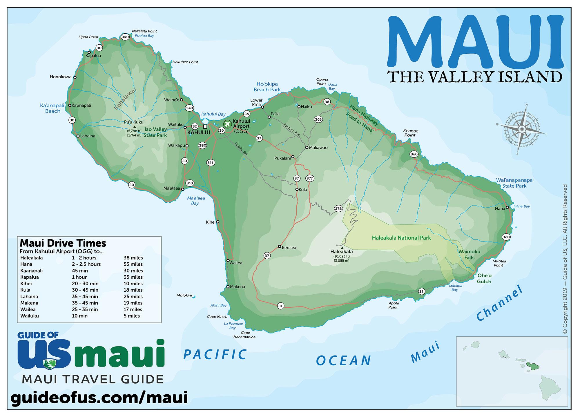 Maui Hawaii Maps - Travel Road Map