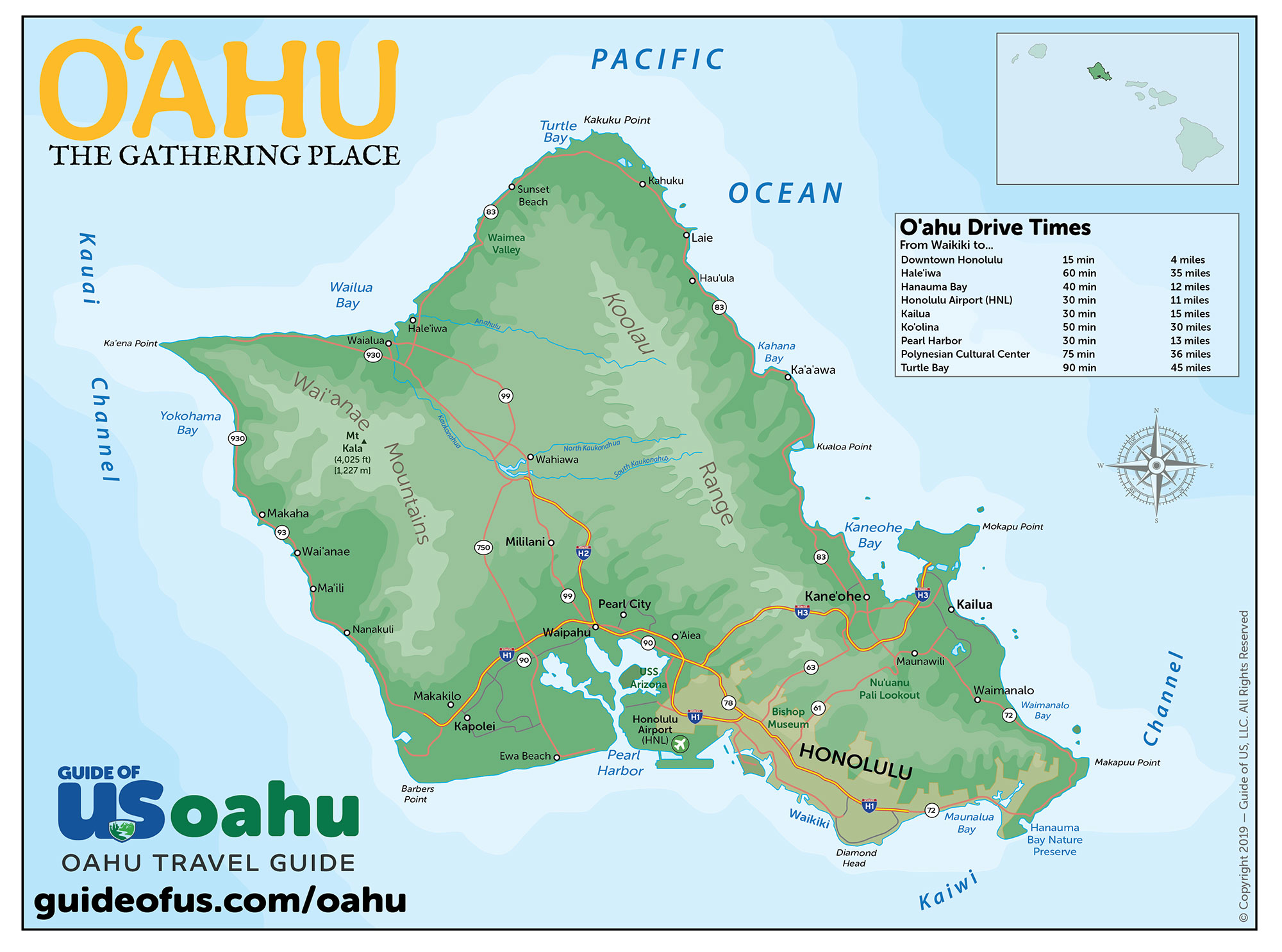 oahu map with attractions Oahu Maps oahu map with attractions