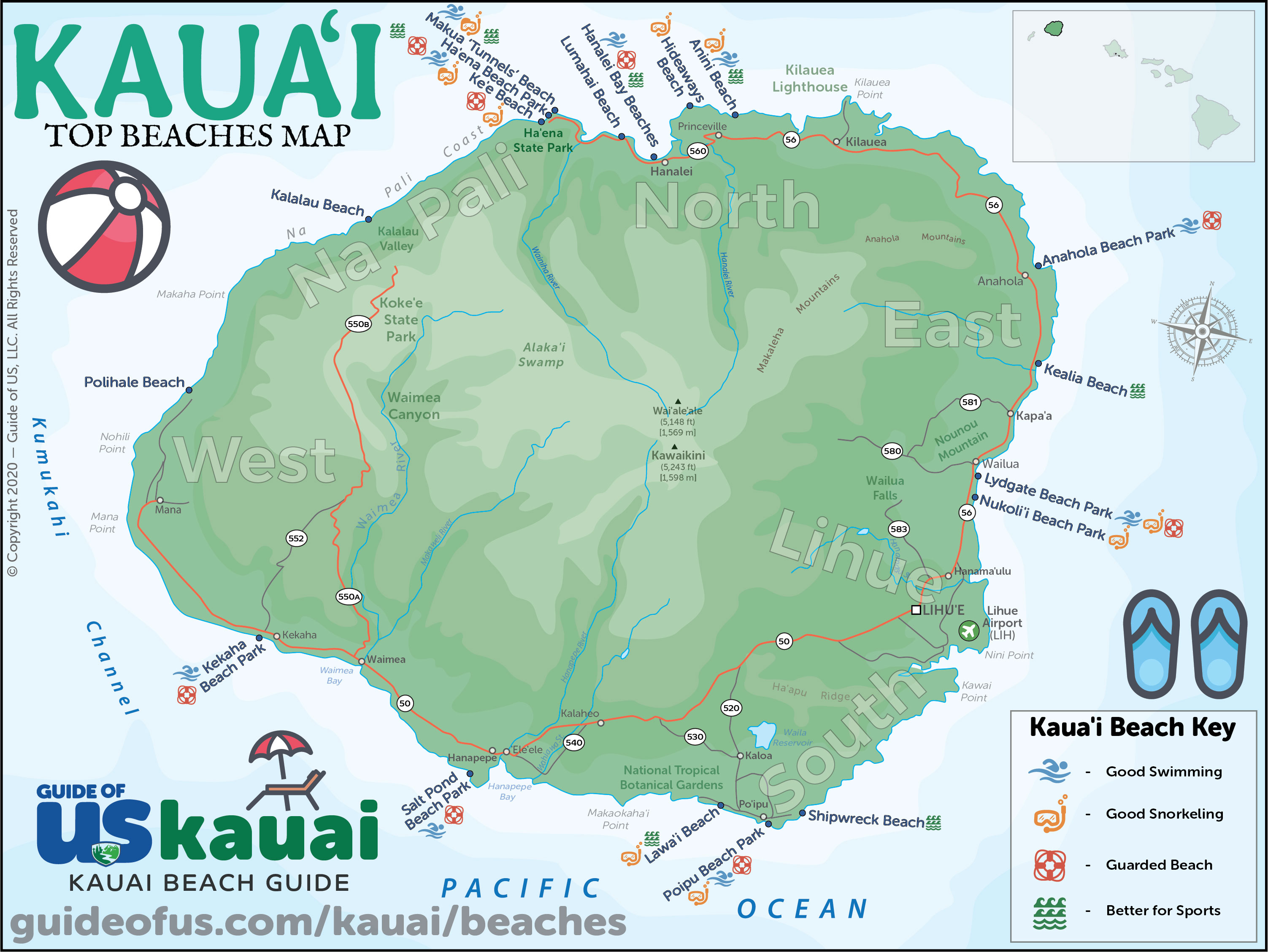 Top 10 Beaches On Kauai Best Of Kauai Beach Map